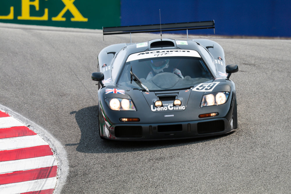 Mika Hakkinen pilots the F1 GTR down the world famous Corkscrew.