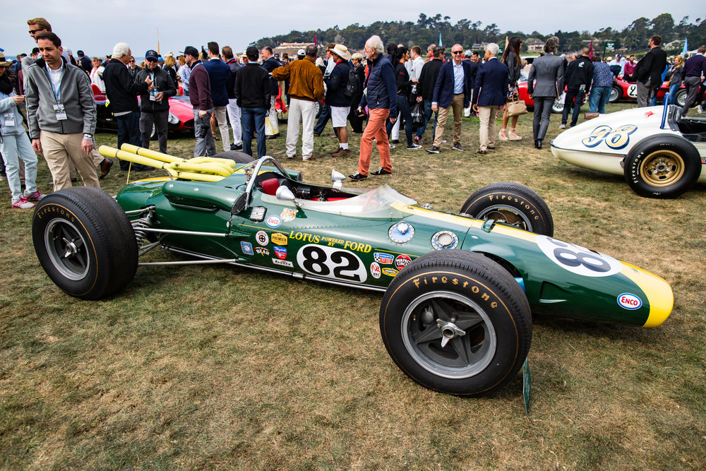 """'65 Lotus 38 """"Powered by Ford"""" driven by Jim Clark in the '65 Indianapolis 500. This was among the several historic Indy"""