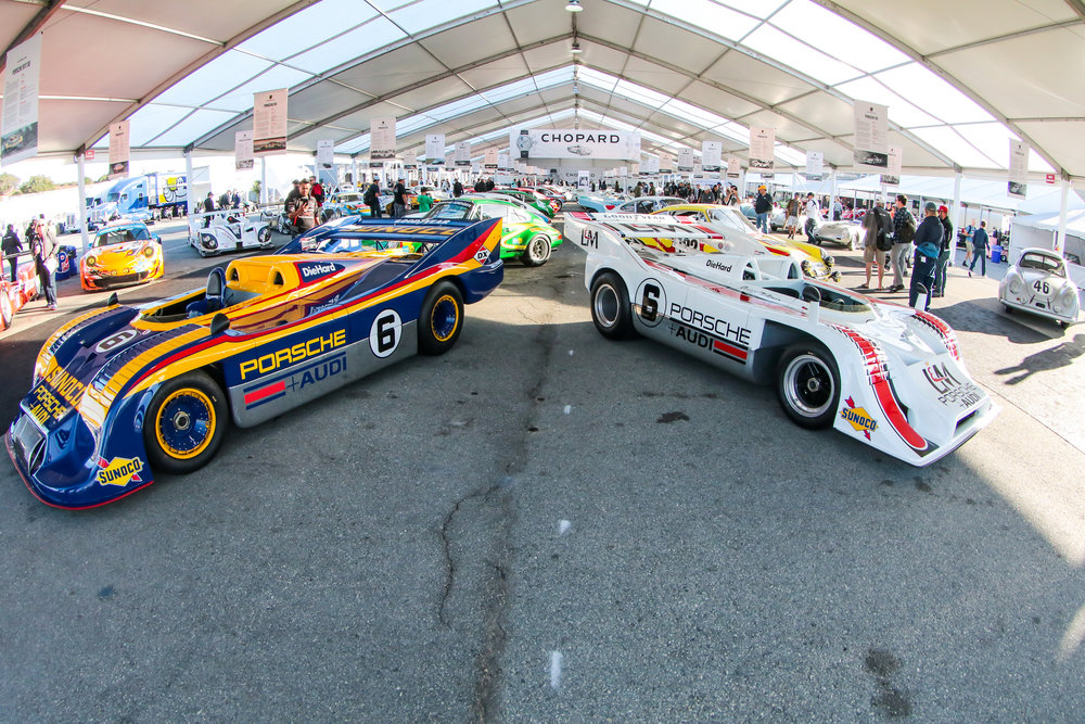 On the left, the 917/30 that won the 1973 Can-Am Championship and a car with enough history on its own to fill multiple volumes. On the right: the 917-30 that won the 1972 Can-Am Championship.