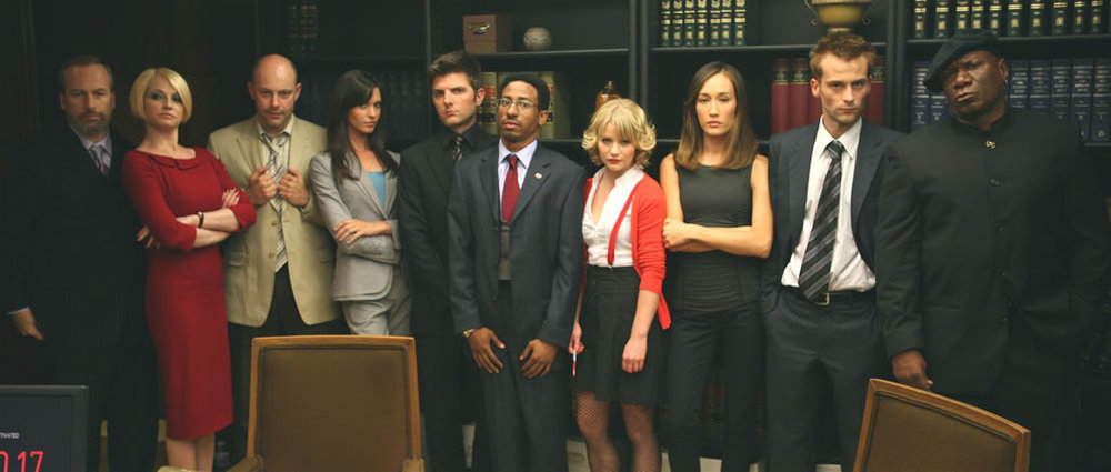 "The cast of ""Operation Endgame"": Bob Odenkirk (Emperor), Ellen Barkin (Empress), Chariot (Rob Corddry), Temperence (Odette Annable), Adam Scott (Magician), Brandon T. Jackon (Tower), Emile de Ravin (Hierophant), Maggie Q. (High Priestess), Joe Anderson (Fool), Ving Rhames (Judgment). Not pictured, Zach Galifianakis (Hermit)."