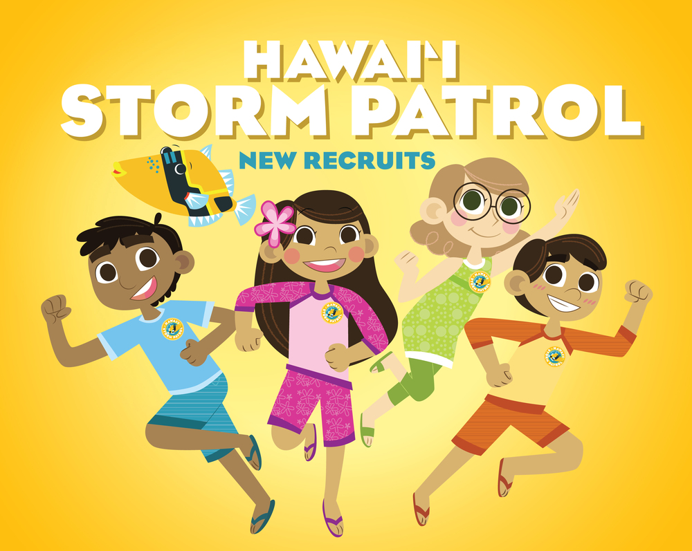 Department of Transportation,  Hawaii Storm Patrol  story, activity book and website educating first graders about storm water pollution (Three Gold Pele Awards).