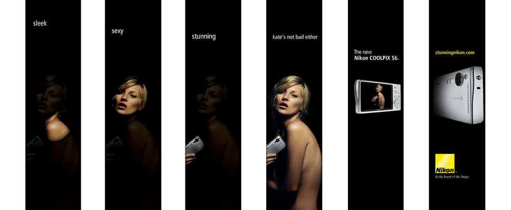 Nikon, Coolpix. Banner campaign featuring super model, Kate Moss.