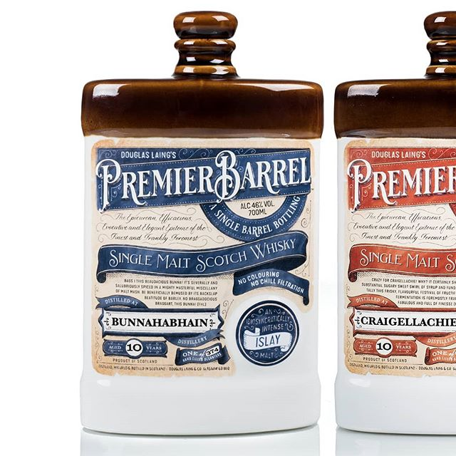 I drew some new labels with a new logo for @dlaingwhisky 's Premier Barrel Single Malt Scotch Whisky. Suitably old fashioned in its ceramic decanter.  #premierbarrel #scotchwhisky #singlemalts #douglaslaing #islay #speyside #highland #packaging