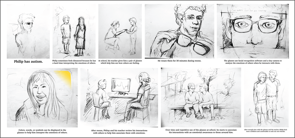 Multiple storyboards were developed to better understand and explain the usage of Sense glasses in social settings. One-on-one situations can often be off-putting to people with social disabilities. We drew out these types of social encounters to see how Sense glasses could encourage and strengthen these intimate interactions. This also gave us a feel for how to structure and shoot our video.