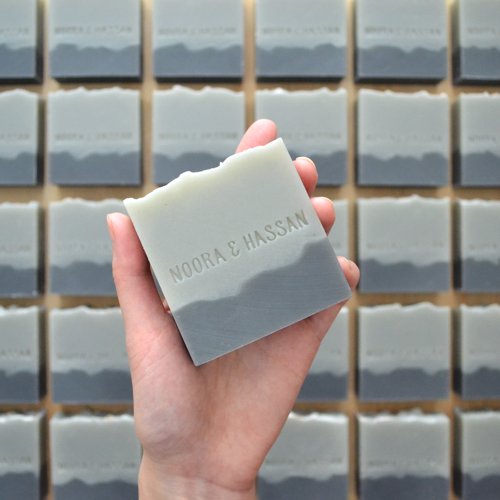 Full size bar soaps with custom stamping