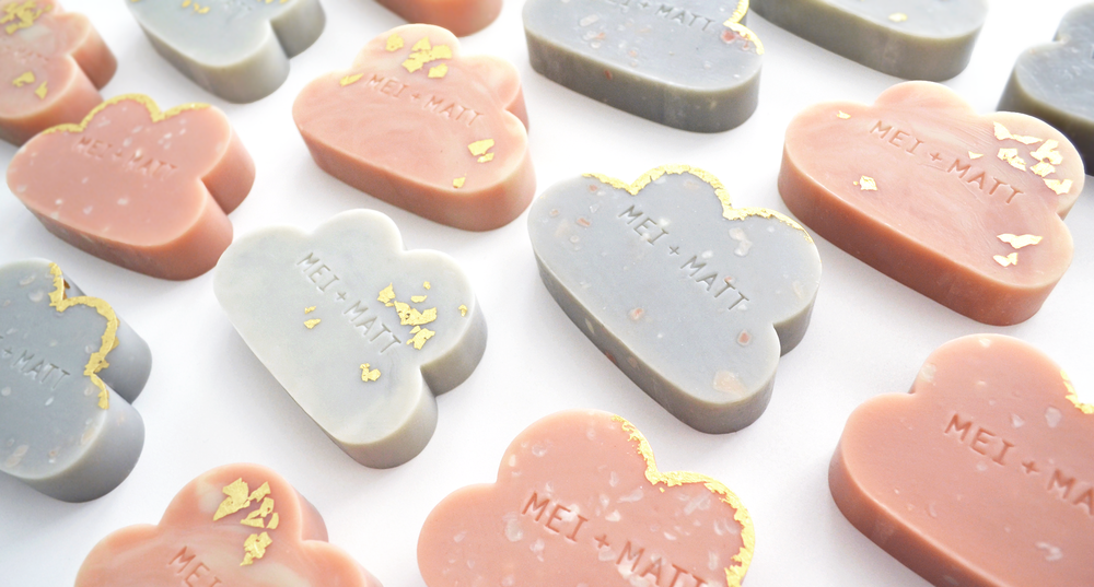 Cloud soaps with custom stamping (additional gold/silver leaf finish available on request)