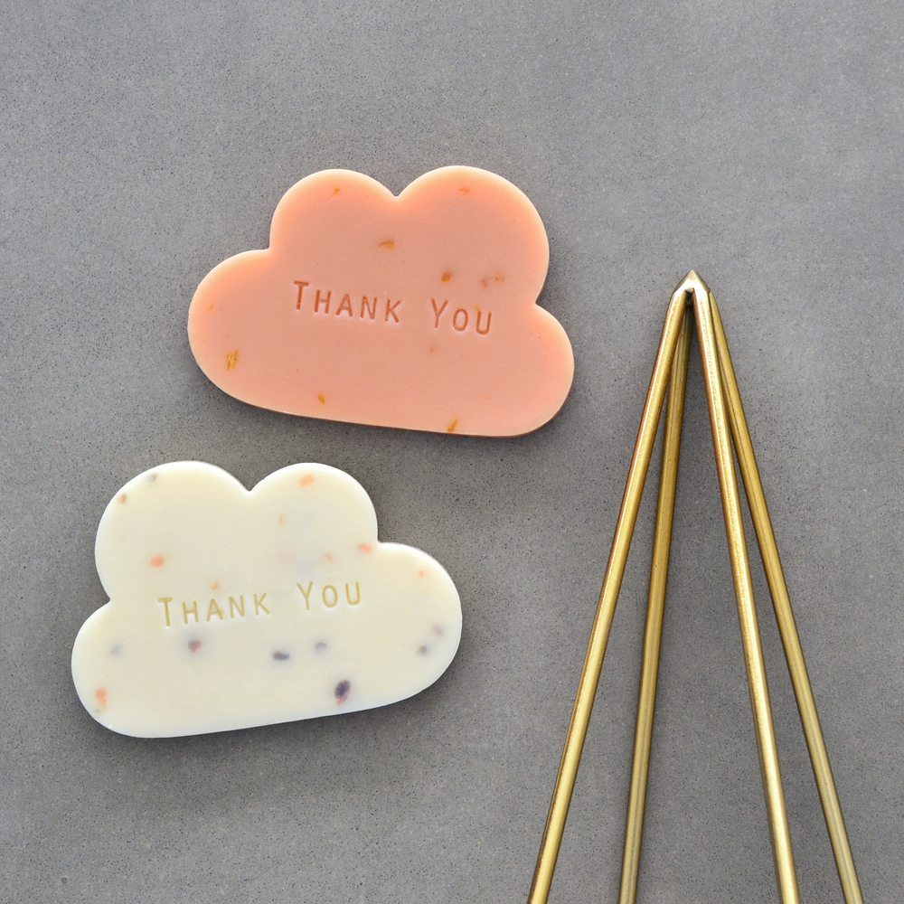 Cloud soaps with Thank You stamping