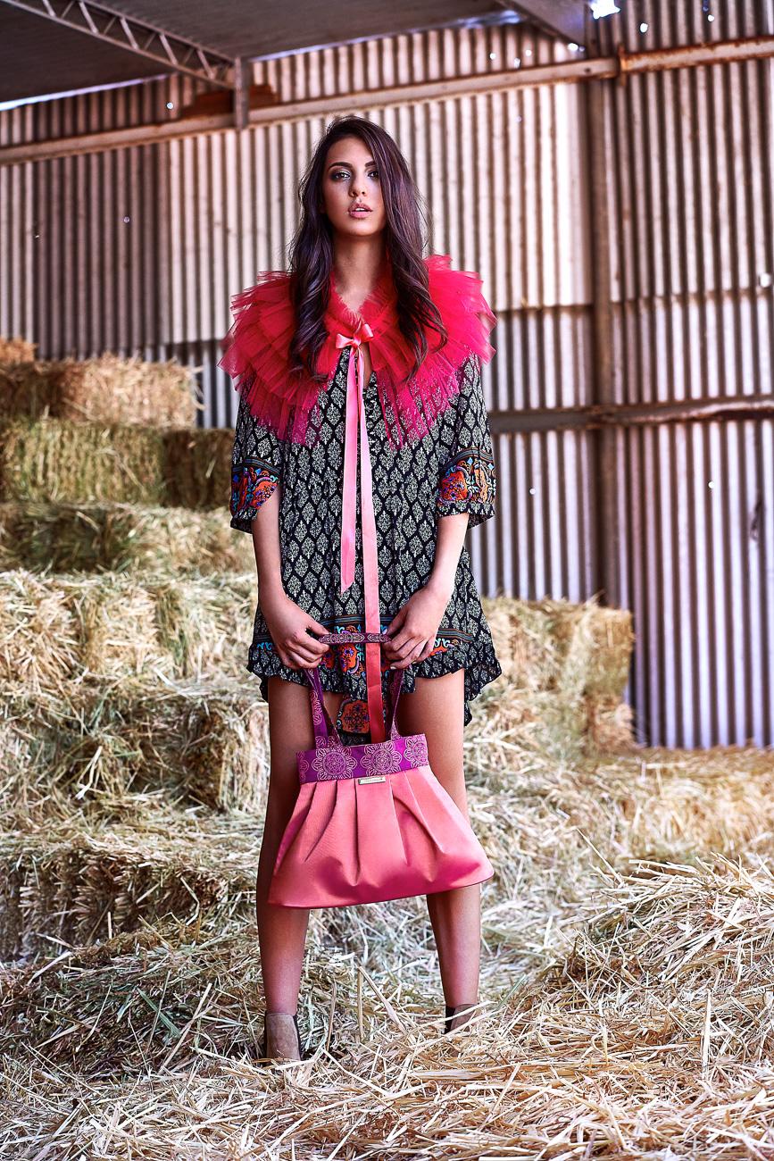 Pink tote handbag with fuchsia pink bolero wrap for bridesmaids