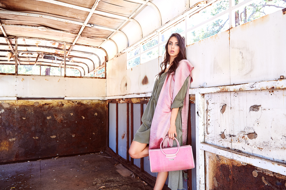Handmade Pink Tote Bag with handwoven silk scarf