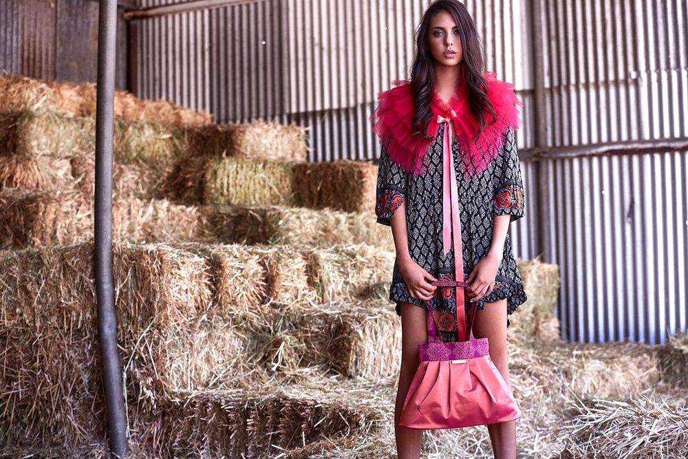 Pink silk tote handbag with bridal bolero wrap for bridesmaids
