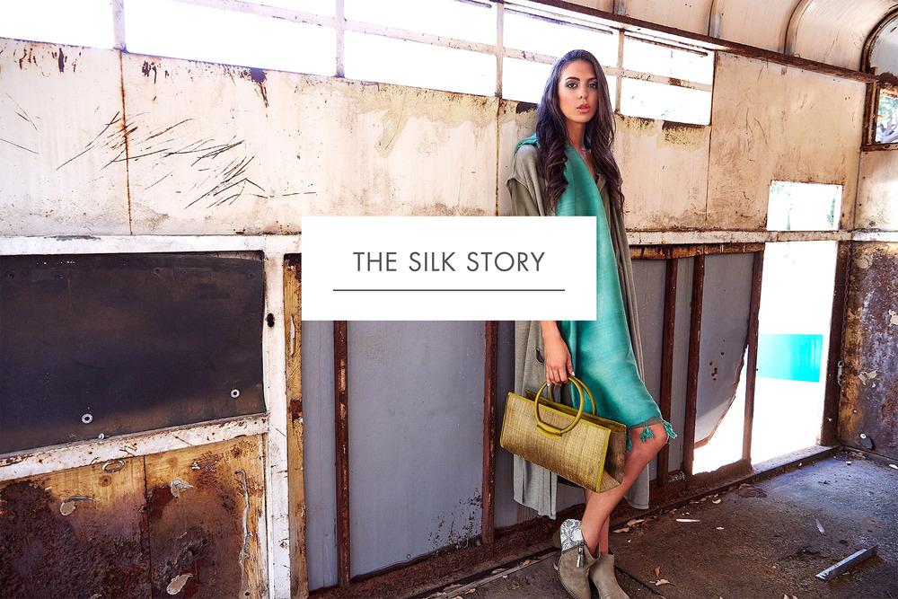 Handmade silk handbag with top handles and green handwoven silk scarf