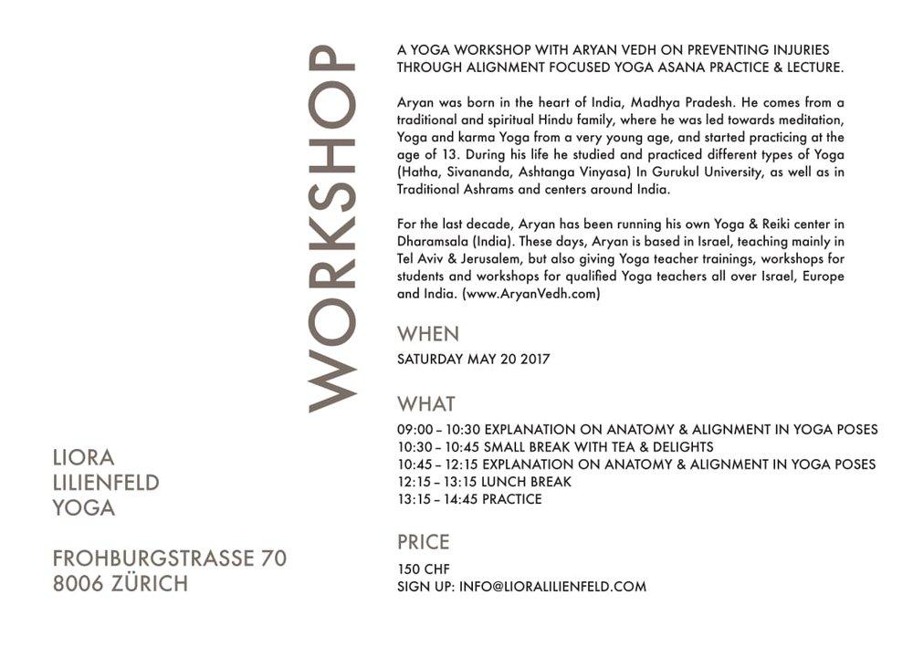 WORKSHOPS — Liora Lilienfeld Yoga - Kreis 6 Zurich