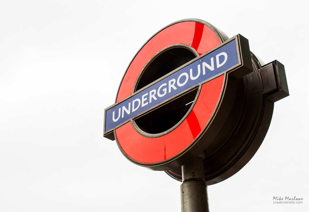 The classic london underground roundel sign. Shot on Creative Trails photography walking tour.
