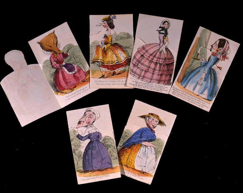 These cards showed pictures of Victorian ladies on the front but open up to reveal animal images and spiteful verses. What a time it must have been to be alive.