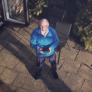 A photo taken by drone of Richard Wishart flying a drone...