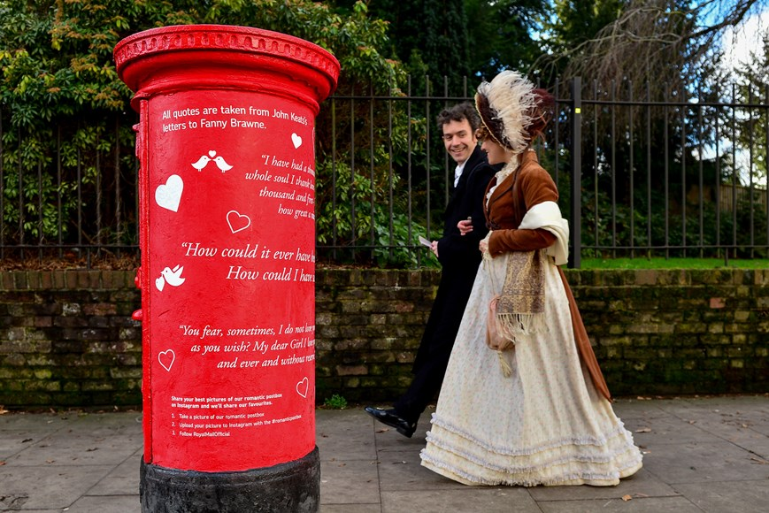 Actors from Keats House Museum at the unveiling of a 'romantic' postbox in honour of poet John Keats in London's Hampstead Heath.