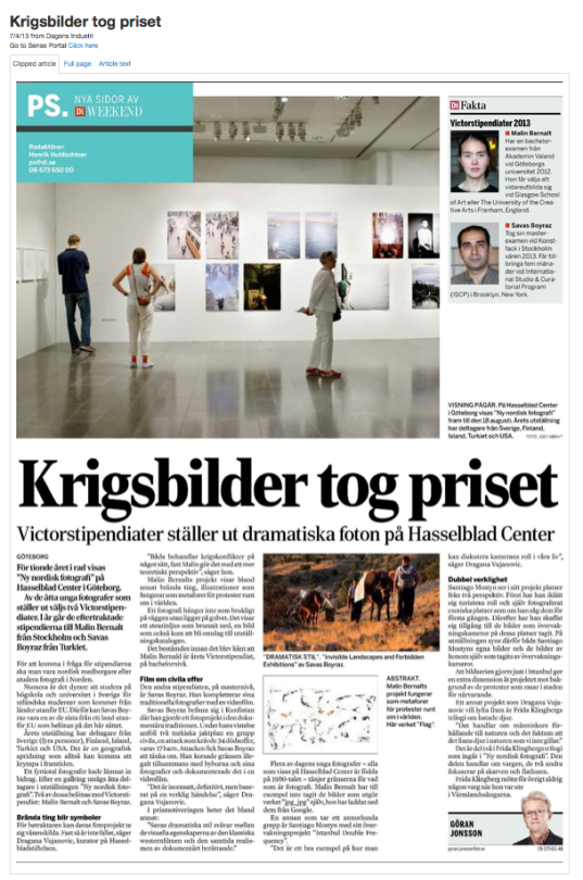 My work got mentioned in Dagens Industri after receiving the Victor Fellowship.