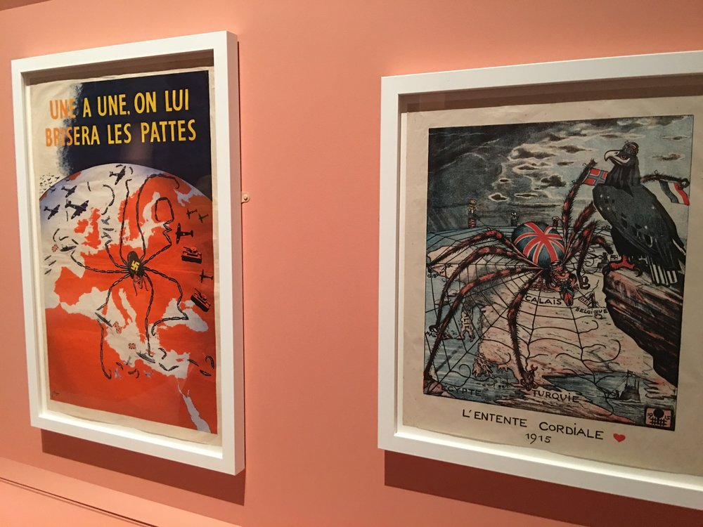 Two propaganda maps at the Maps and the 20th Century exhibit at the British Library.