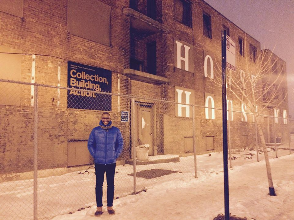 Robert J. Smith III, the associate director of the National Public Housing Museum, in front of the museum's future location at 1322 W Taylor St. in Chicago.
