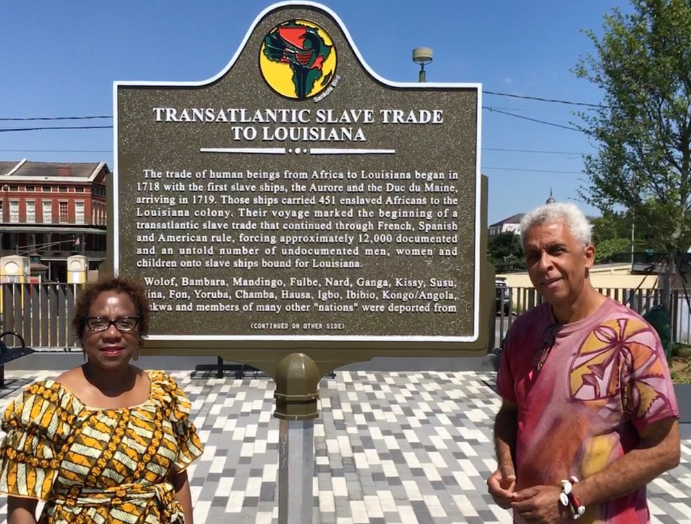 Freddi Williams Evans and Luther Gray at the Transatlantic Slave Trade to Louisiana historic marker in New Orleans.