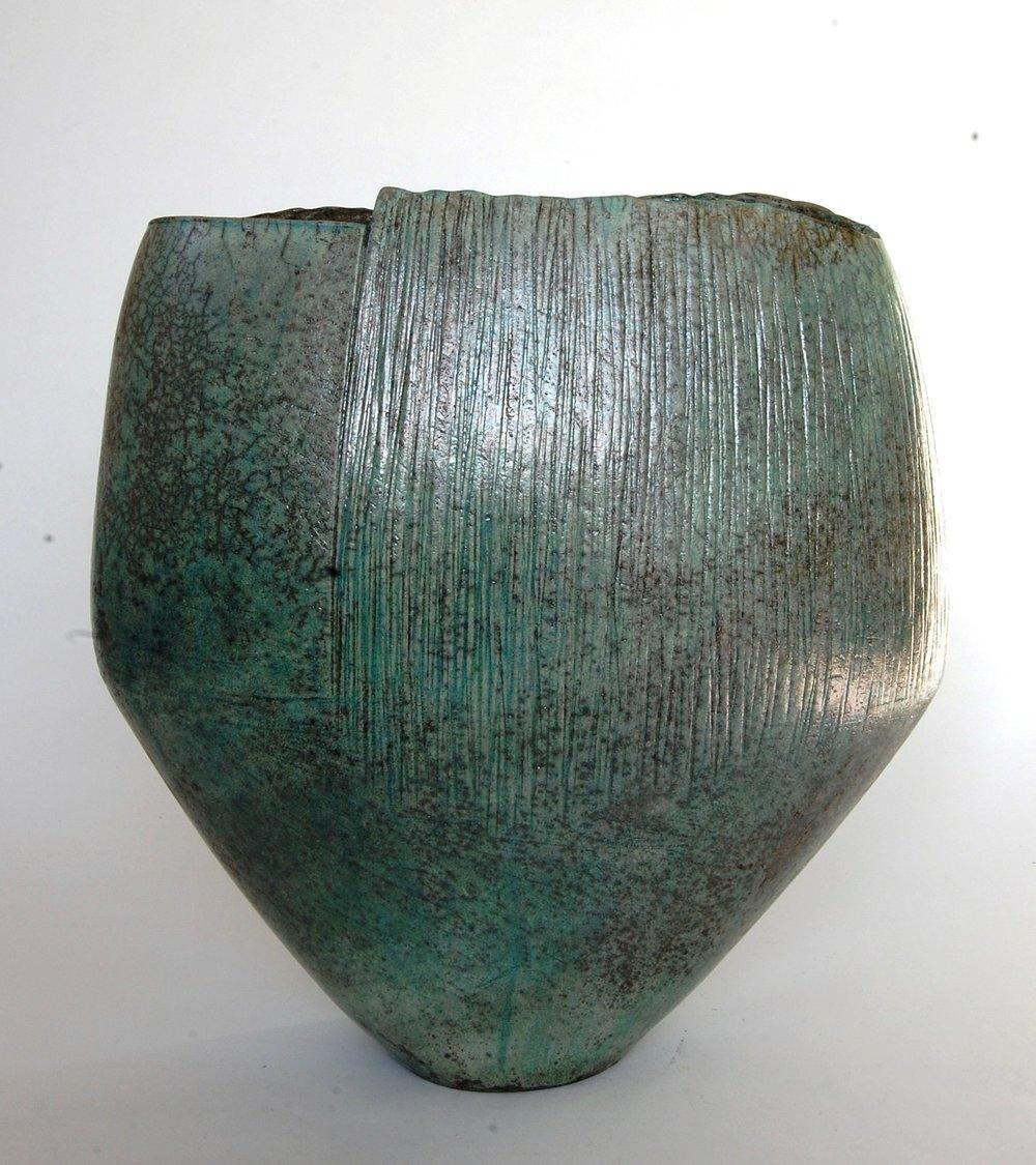 Wide Green Textured Vessel - £800.00