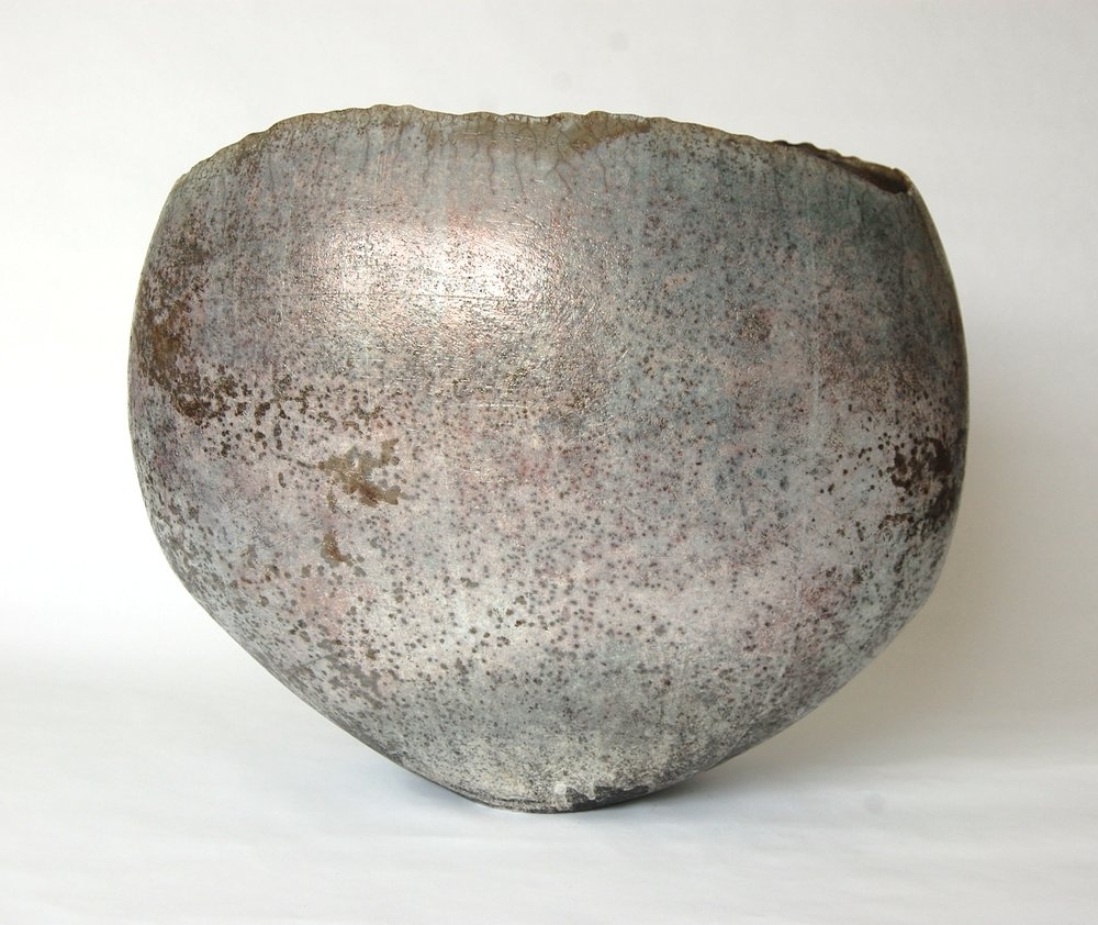 Wide Pale Blue Textured Vessel - £920.00