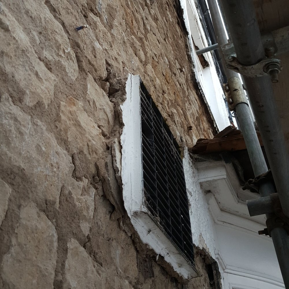 Features! - Losing the now redundant fan will be one of the benefits of the renovations. Oak lintels have been delivered today to replace the old ones that had disintegrated into dust, such a shame to cover them in render!