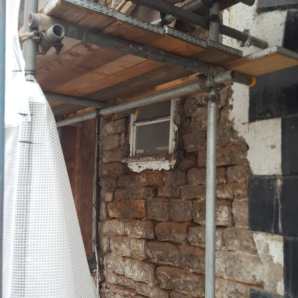 Market Place Takes a Beating! - The weather and lack of maintenance over the years has taken it's toll on the Market Place facade. The window is on the point of falling out! That'll be a new window then please.Not much has happened this week due to poor weather! Lots of workers on site today and we are open till 17:00!