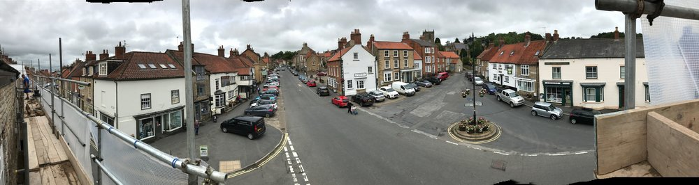 The panorama from the top level of scaffolding. A not much seen viewpoint of Kirkbymoorside Market Place.