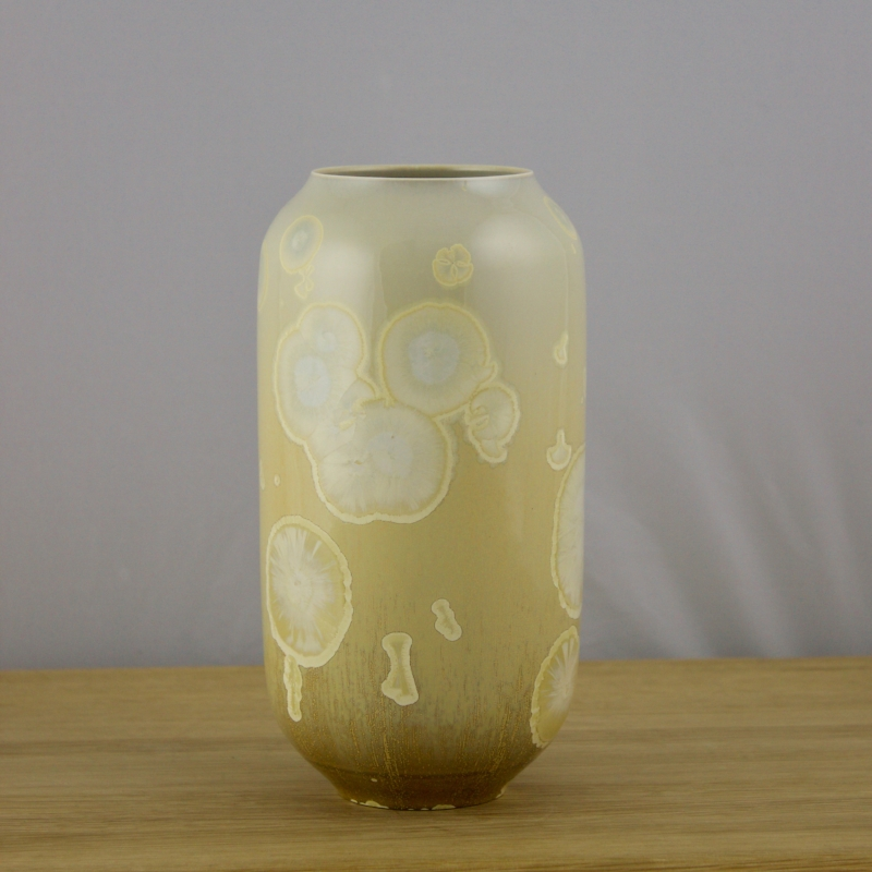 Yellow Cylinder Vase - Porcelain with Crystalline Glaze