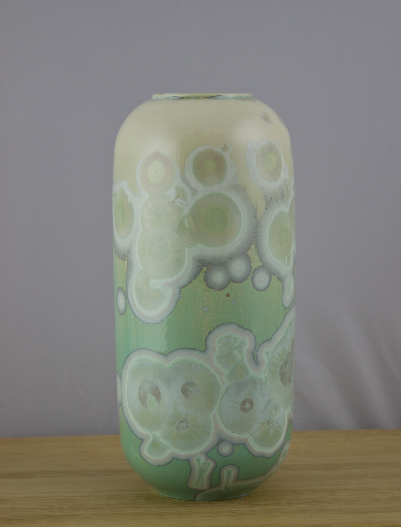 Green Cylinder Vase - Porcelain with Crystalline Glaze