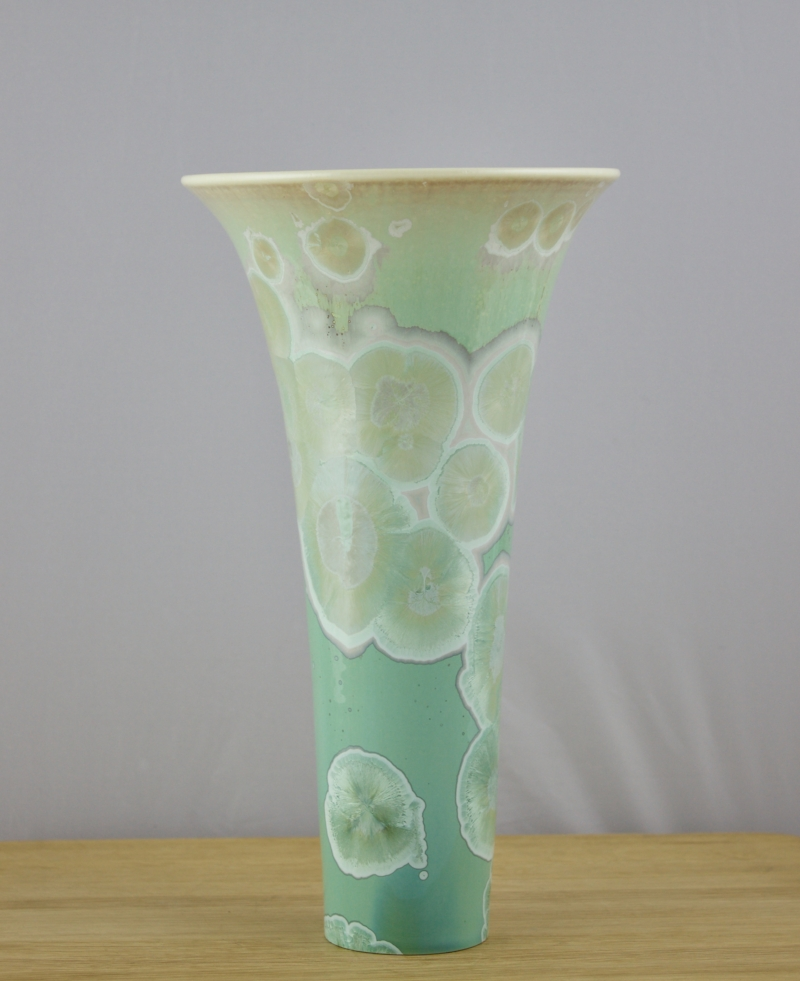 Green Fluted Vase - Porcelain with Crystalline Glaze