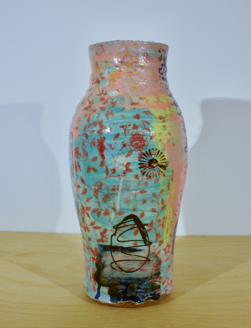 Small Vase with Daisies - Pink and Green Stoneware Vase