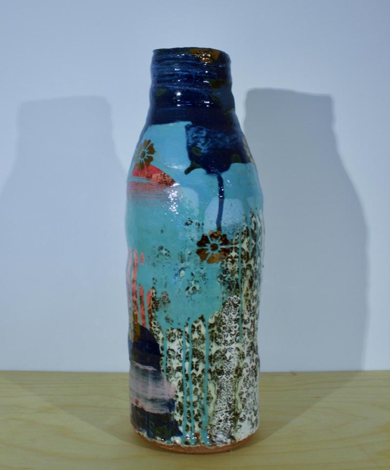 Medium Bottle Vase - Stoneware Vase with Dark Blue Neck