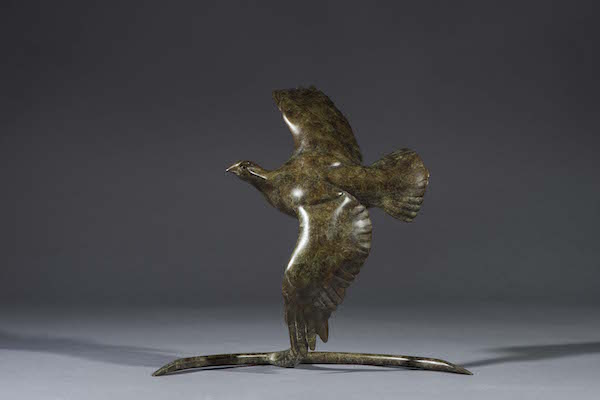 Flying Grouse by Simon Gudgeon. Bronze, limited edition of 50. 30cm tall