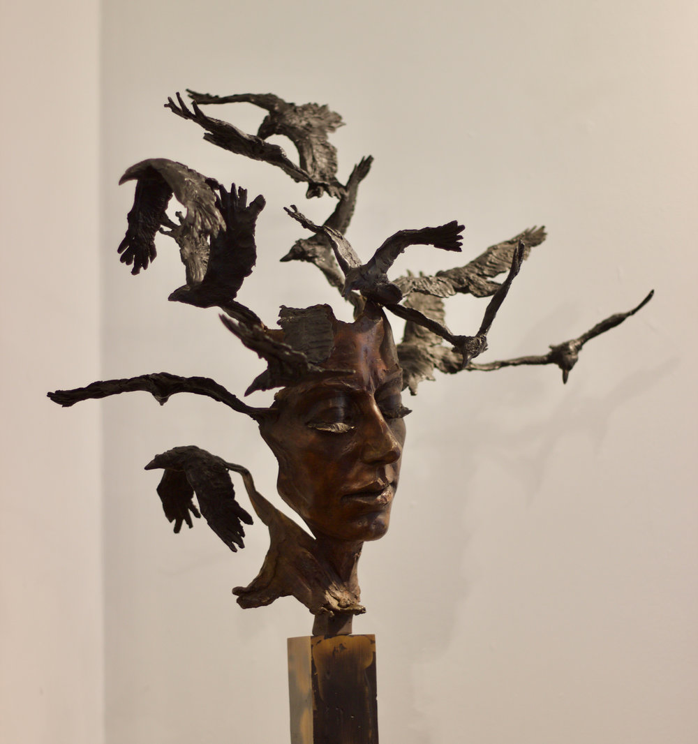 Girl With The Shadows - Edition 1 of 1 Bronze Patinated Sculpture