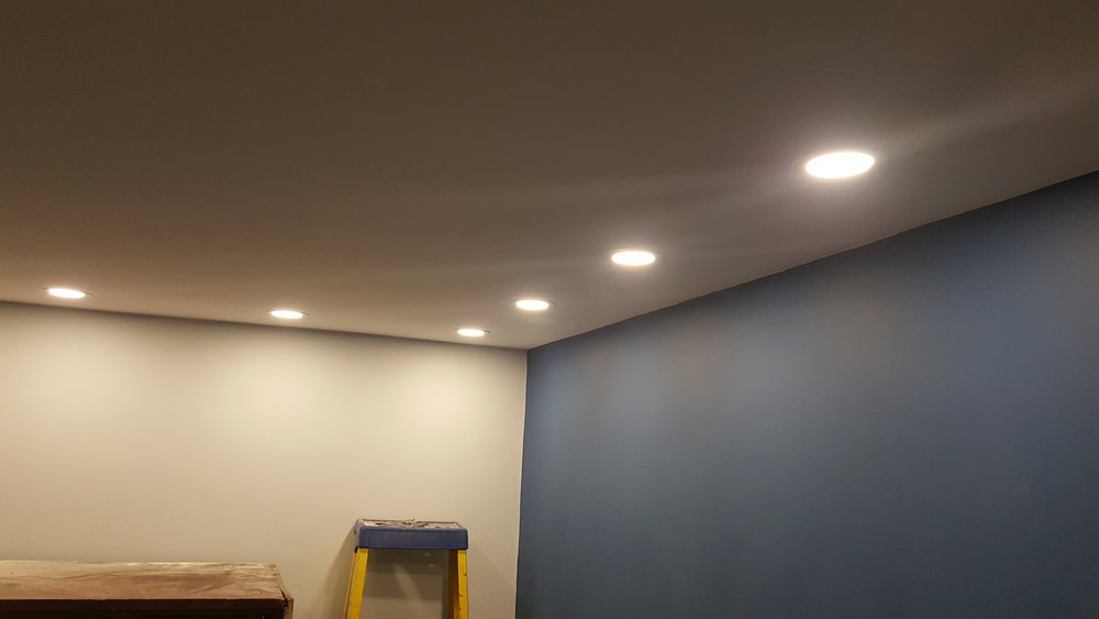 Advantages! - Whilst the gallery is closed for some of the heavy renovation work to be completed we got in our super sparky, Chris, who has worked marvels with a room no one wanted to work on! Super slim-line LED downlights installed and looking fantastic.