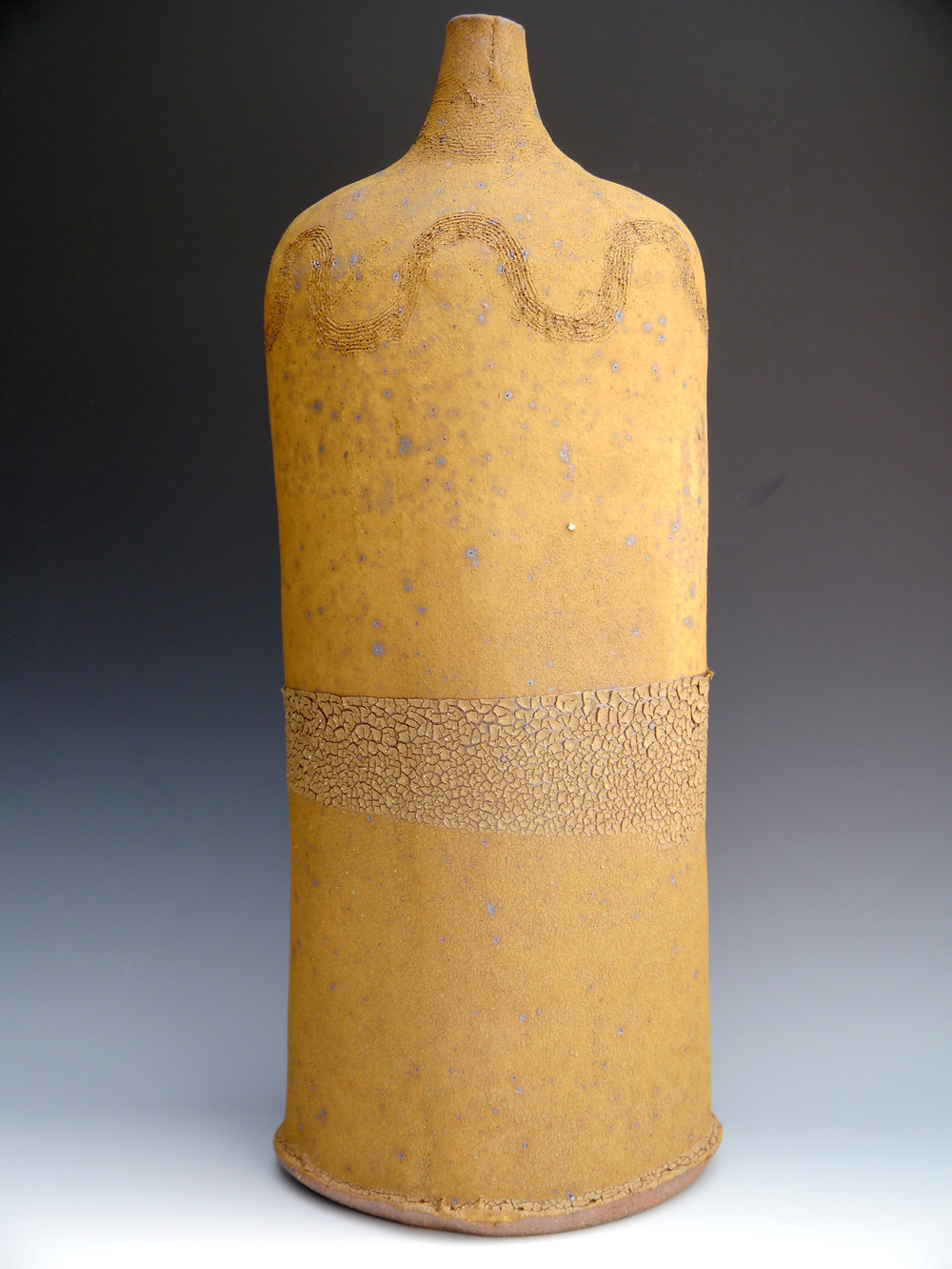 04 1st September 2014 tall scored rust accretion bottle 56 x 23 cm.jpg
