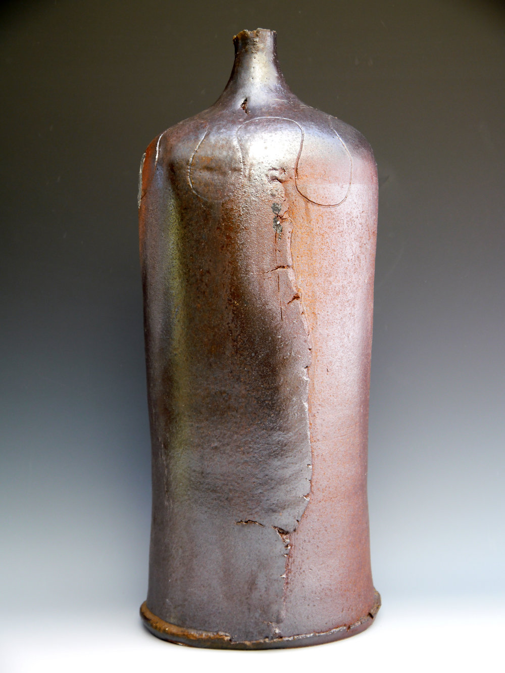 05 August 2014 4 day woodfired shino glazed large bottle 52 x 22 cm.jpg