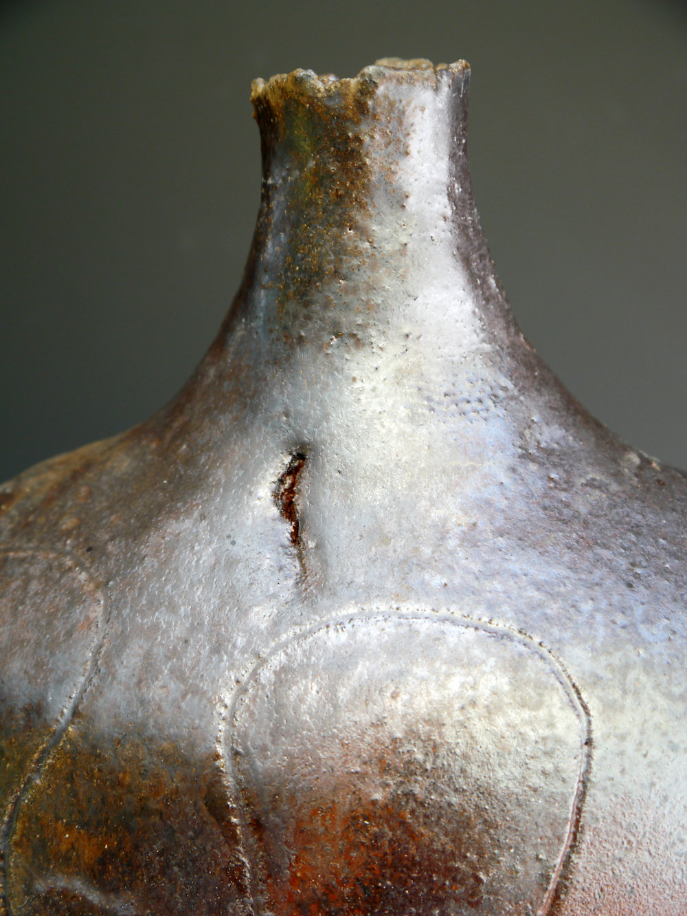 5 woodfired shino glazed large bottle neck detail.jpg