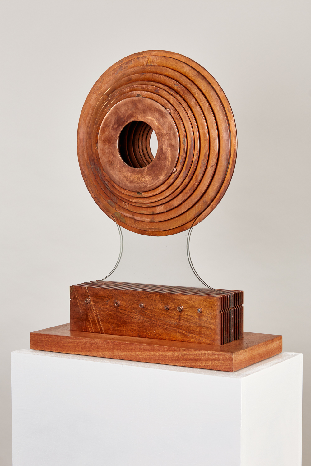 2016 Octave Circle.  50cm x 30cm x 14cmCorten steel; copper plate; glass on Sapele plinth.jpg