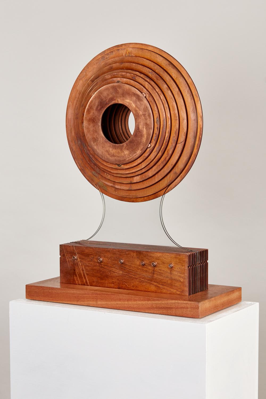 2016 Octave Circle.  50cm x 30cm x 14cmCorten steel; copper plate; glass on Sapele plinth.jpg