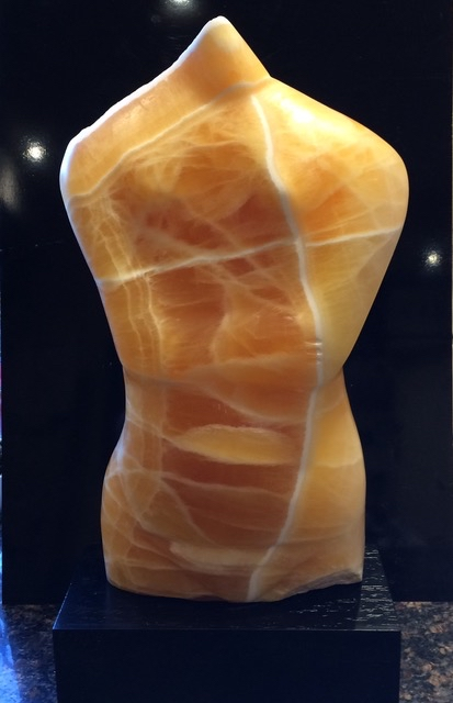 Woman with Arms Folded - Honey Lotus Onyx Sculpture£1,950