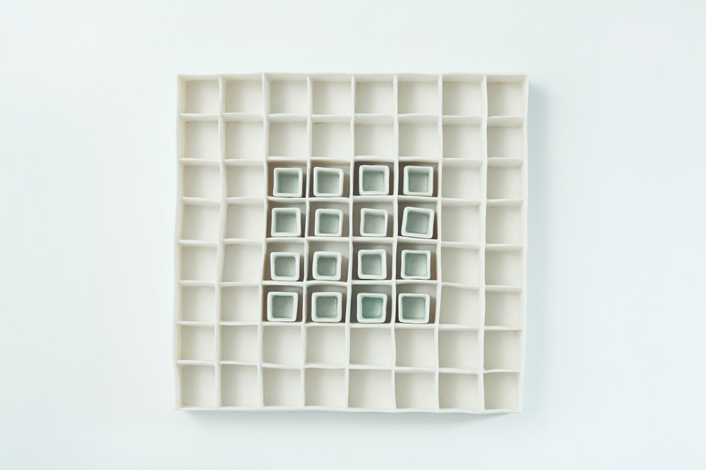 Porcelain Grid with Celadon Blue Glaze Isobel Egan Image 1.jpg