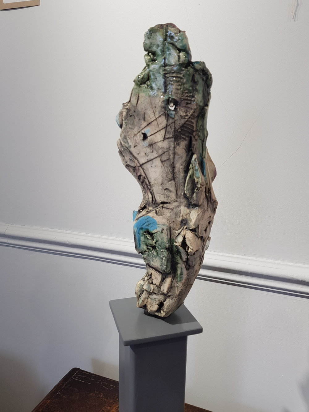 One of five sculptures by Brendan Hesmondhalgh on display through May and June.