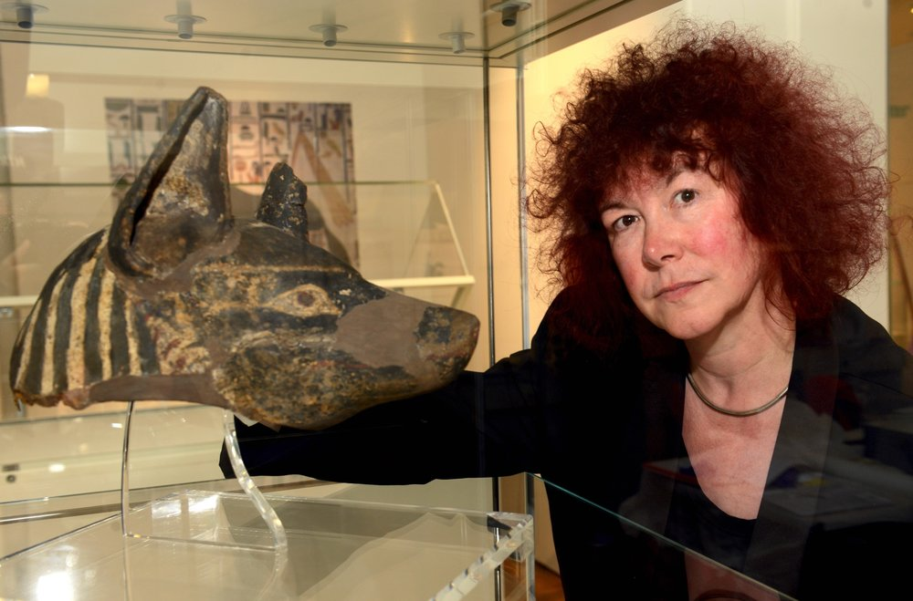 Jo with Anubis Head, found in a Yorkshire museum vault which went on to feature on the promotional material for the British Museums last Egyptology exhibition.
