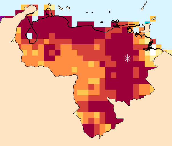 Composite water anomaly index   map for Venezuela Dec 2014-Nov 2015 (Location of Guri Dam highlighted).