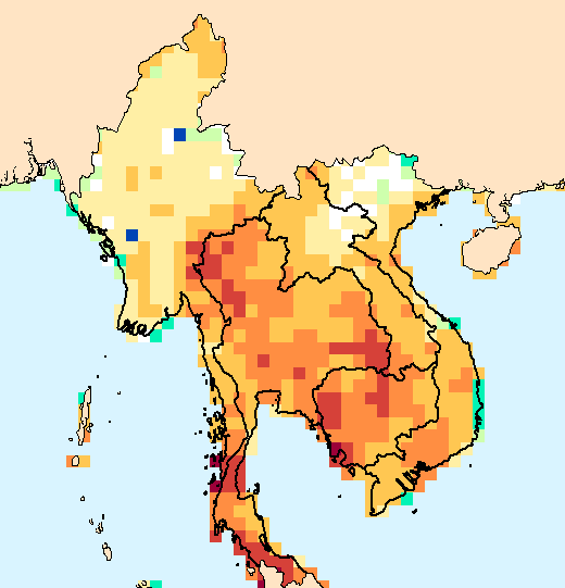 Composite water anomaly index   map for Southeast Asia, Mar 2015 - May 2015.