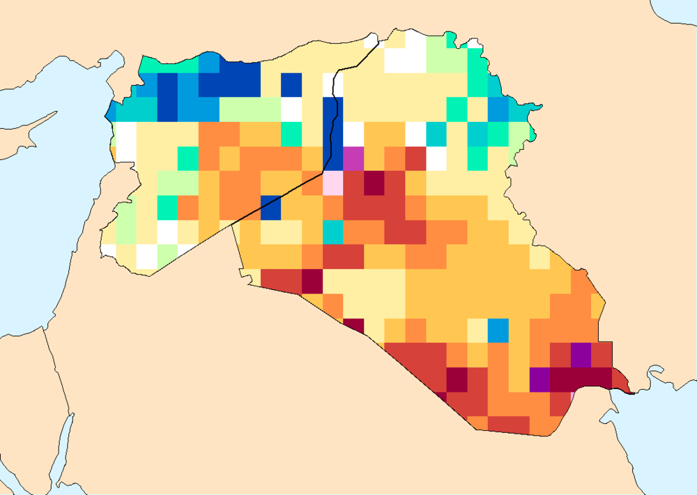 "Composite water anomaly index   map Syria and Iraq  Mar 2015 - May 2015.   Blues indicate more water than usual, reds less water than usual. Units are in ""return period"" (the inverse of the probability of seeing an anomaly of that magnitude or worse)."