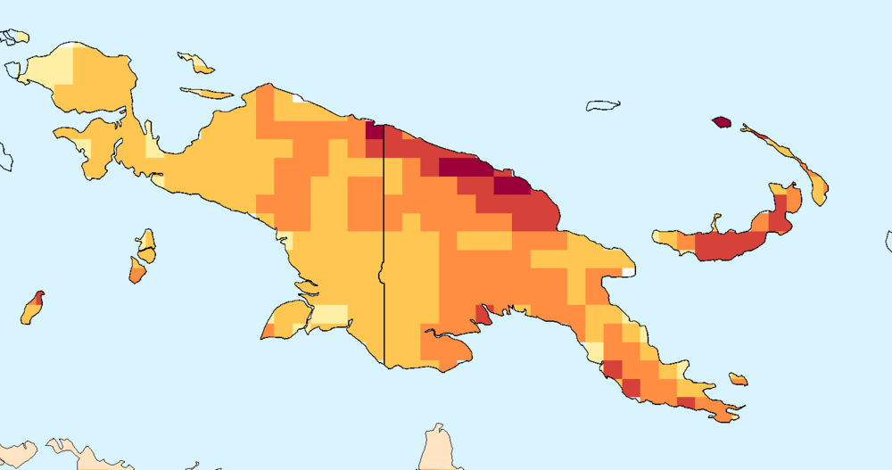Composite water anomaly index   map for Papua New Guinea and Papua (July-December 2015).